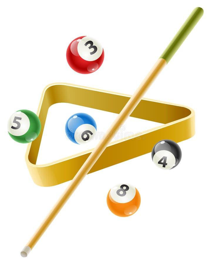 Boule et queue pour le jeu de billard illustration libre de droits