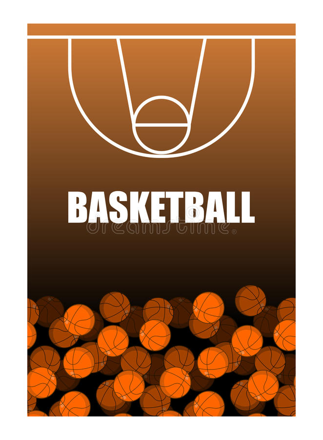 Boule et terrain de basket Sort de billes Fond de basket-ball illustration de vecteur