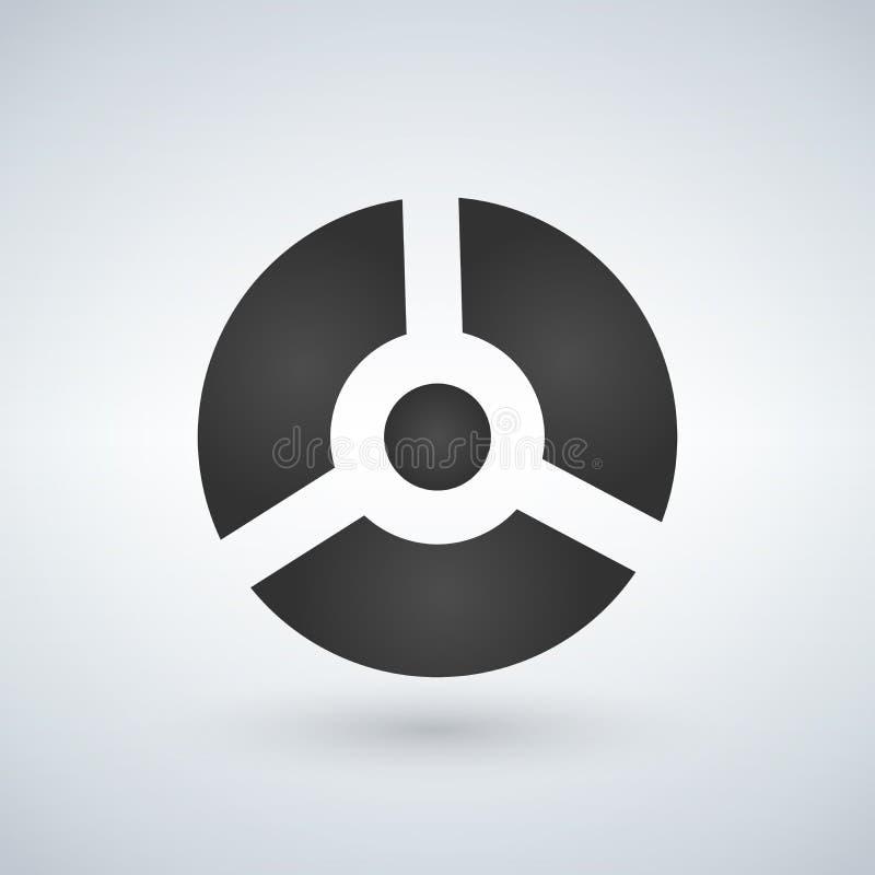 Boule futuriste grise ronde trois parts, robot, illustration de vecteur illustration stock