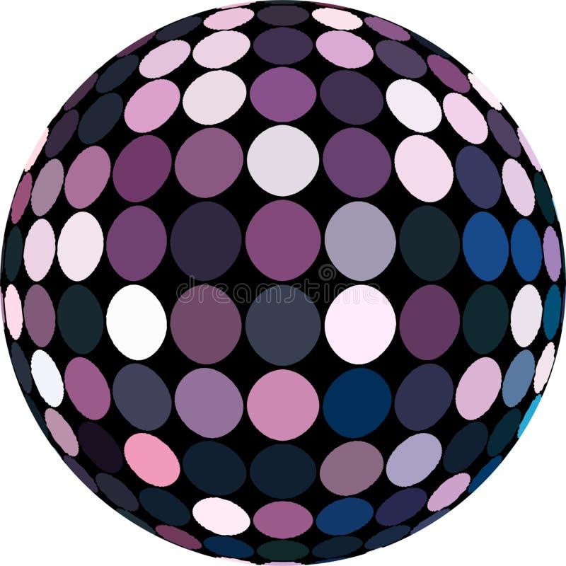 Boule lilas de disco de la mosaïque 3d de miroir de miroitement Le simbol abstrait de sphère a isolé illustration stock