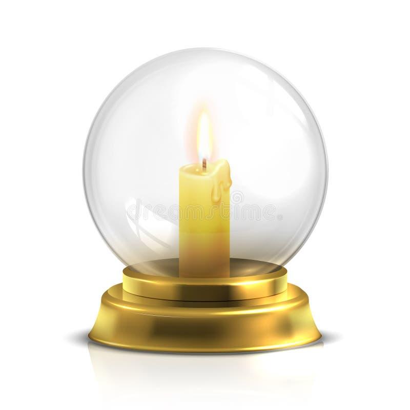 Boule magique réaliste avec la bougie légère d'isolement sur le fond blanc illustration de vecteur