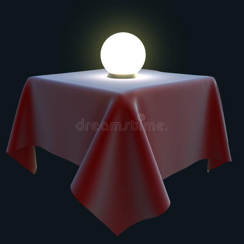 Boule magique rougeoyante sur une table carrée illustration stock