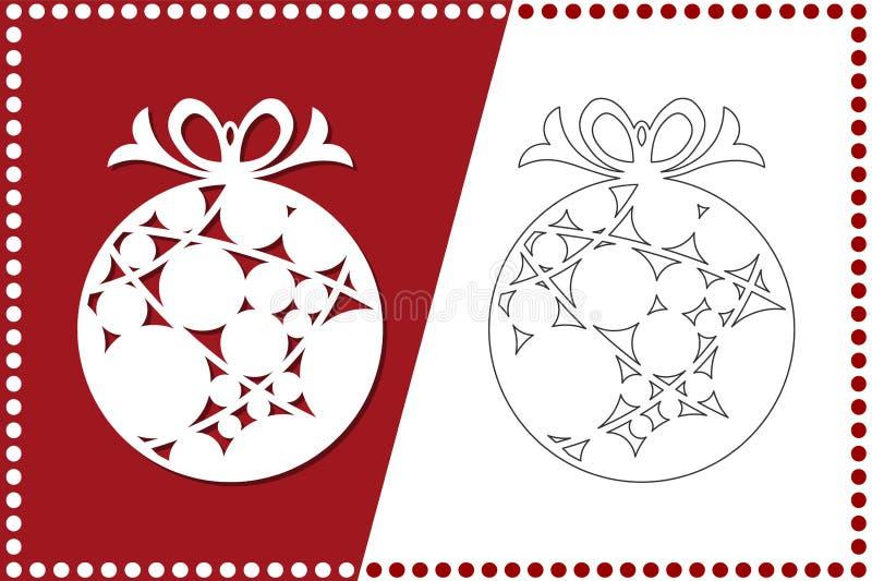 Boule moderne de Noël Le jouet de nouvelle année pour la coupe de laser Illustration de vecteur illustration stock
