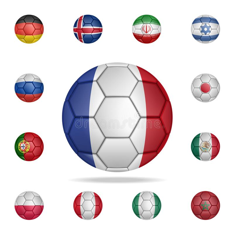Boule nationale du football de la France Ensemble détaillé de ballons de football nationaux Conception graphique de la meilleure  illustration libre de droits
