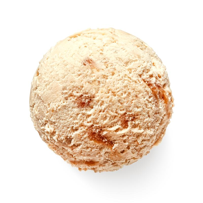 Boule ou scoop simple de crème glacée de caramel photographie stock libre de droits