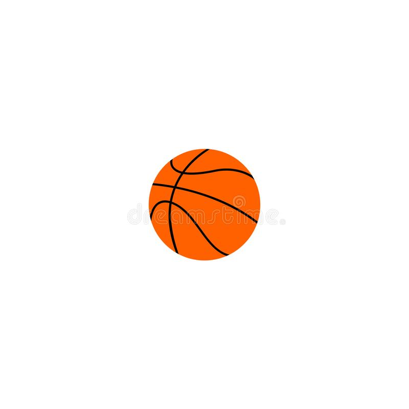 Boule plate orange de basket-ball, illustration de vecteur d'isolement sur le fond blanc illustration stock