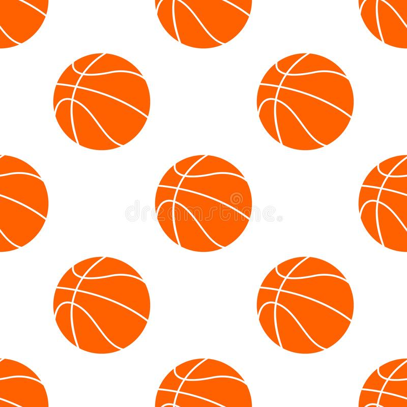 Boule plate orange de basket-ball, illustration de vecteur d'isolement sur le fond blanc Configuration sans joint illustration libre de droits