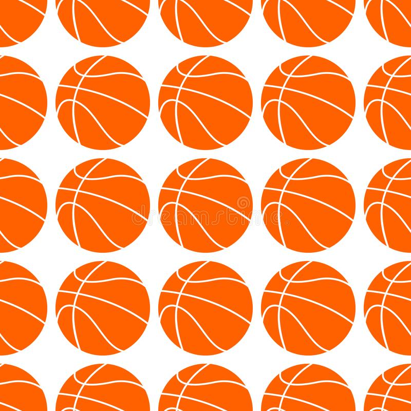 Boule plate orange de basket-ball, illustration de vecteur d'isolement sur le fond blanc Configuration sans joint Conception de b illustration libre de droits