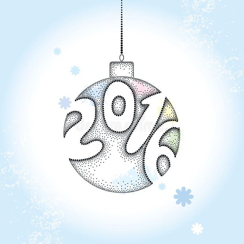Boule pointillée de Noël avec les numéros 2016 et flocons de neige sur le fond bleu Carte de voeux d'hiver dans le style de dotwo illustration stock