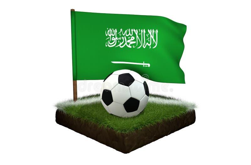 Boule pour jouer le football et le drapeau national de l'Arabie Saoudite sur le champ avec l'herbe illustration de vecteur