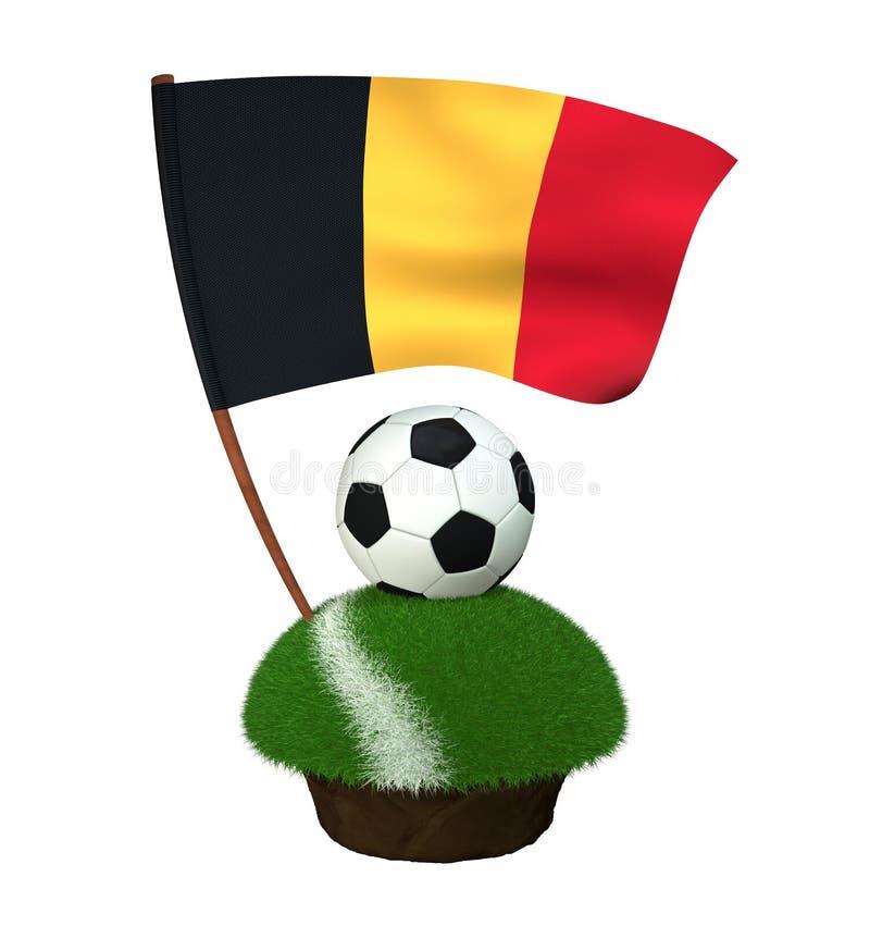 Boule pour jouer le football et le drapeau national de la Belgique sur le champ avec l'herbe illustration de vecteur
