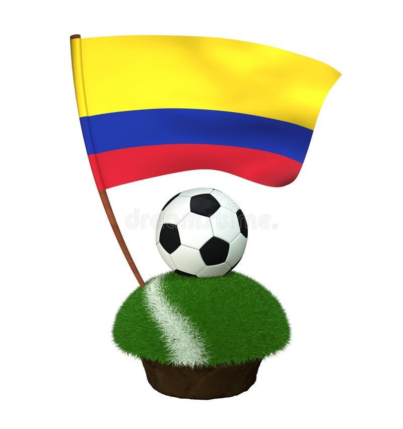 Boule pour jouer le football et le drapeau national de la Colombie sur le champ avec l'herbe illustration libre de droits