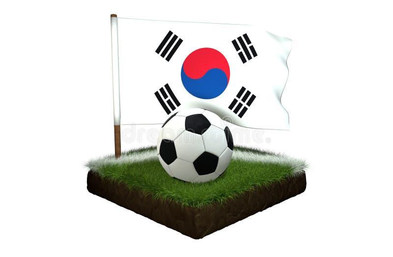 Boule pour jouer le football et le drapeau national de la Corée sur le champ avec l'herbe illustration libre de droits