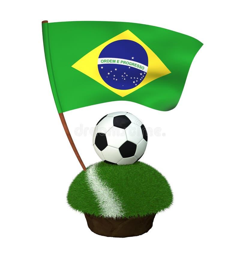 Boule pour jouer le football et le drapeau national du Brésil sur le champ avec l'herbe illustration stock