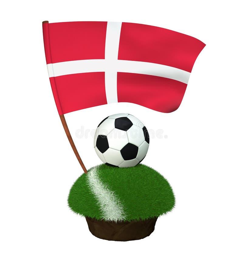 Boule pour jouer le football et le drapeau national du Danemark sur le champ avec l'herbe illustration stock