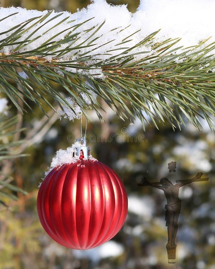 Boule rouge à nervures pendant de l'arbre à feuilles persistantes extérieur dans la neige avec la croix et le corps semi-transpar photographie stock