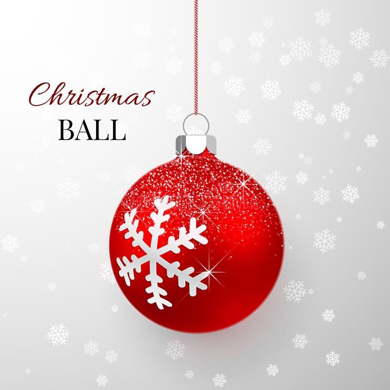 Boule rouge de Noël avec l'effet de neige  Calibre de décoration de vacances Illustration de vecteur illustration stock
