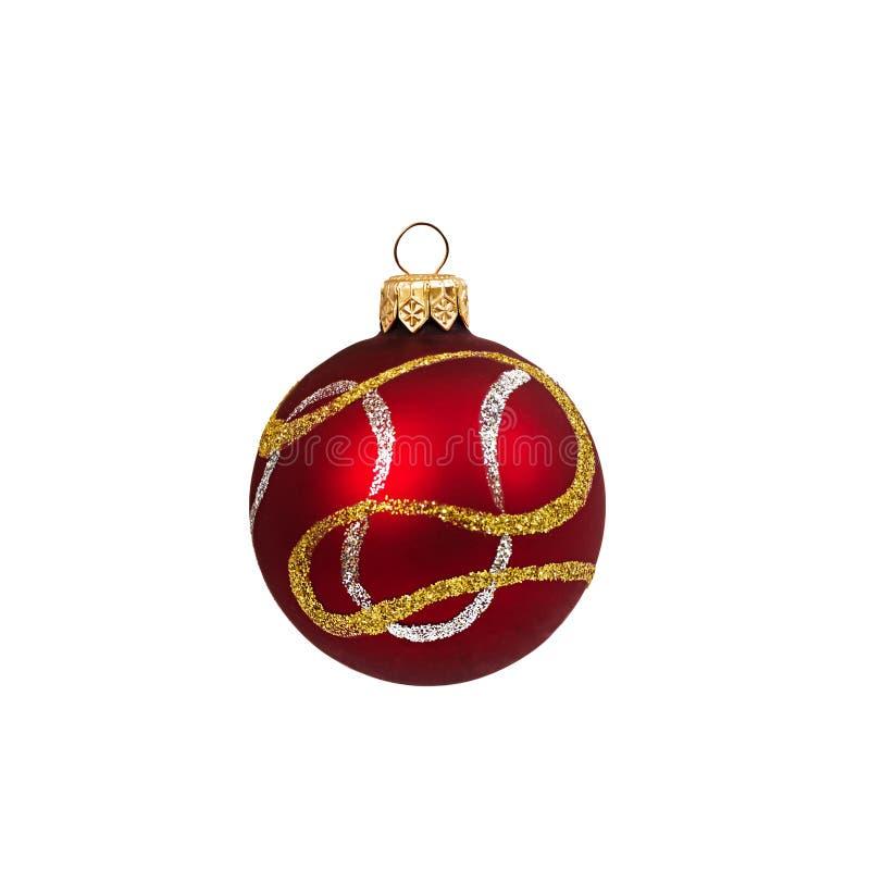 Boule rouge de Noël d'isolement la nouvelle année de fond blanc photos libres de droits