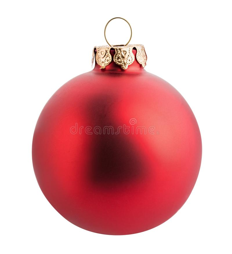 Boule rouge de Noël d'isolement sur le fond blanc Chemin de coupure photographie stock libre de droits