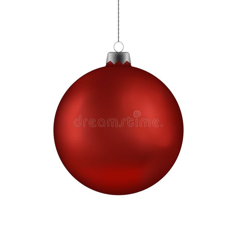 Boule rouge de Noël remettant sur la ficelle Babiole de vecteur de Noël d'isolement sur le fond blanc Deco de nouvelle année illustration libre de droits
