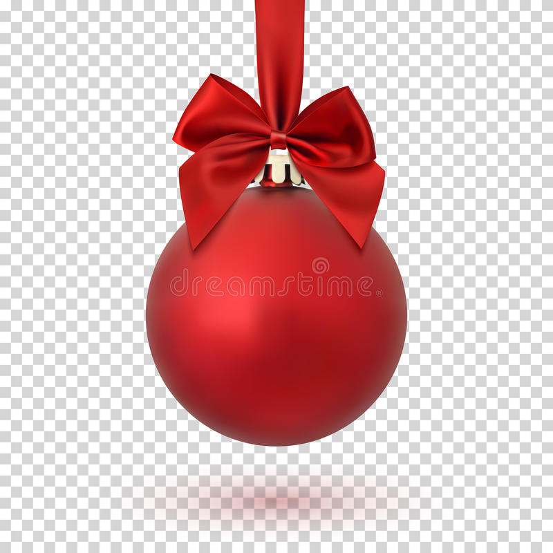 Boule rouge de Noël sur le fond transparent illustration libre de droits