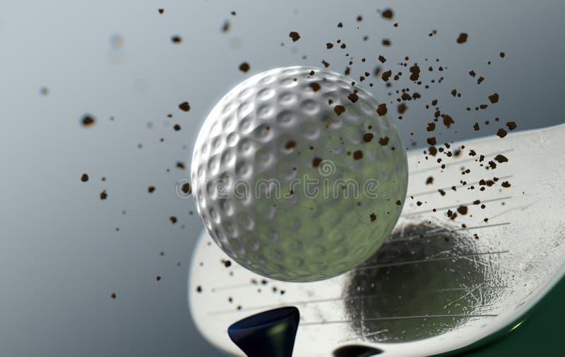 Boule saisissante de club de golf dans le mouvement lent illustration libre de droits
