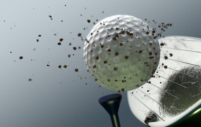 Boule saisissante de club de golf dans le mouvement lent illustration stock