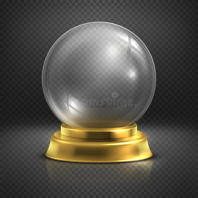 Boule, szkło pusta magiczna piłka, śnieżna kula ziemska wektoru ilustracja ilustracji