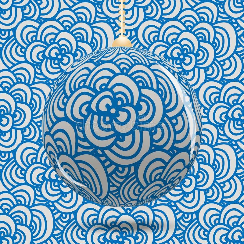 Boule transparente de Noël sur le fond avec le zenart bleu de style de modèle Fond de Noël ou d'an neuf illustration libre de droits