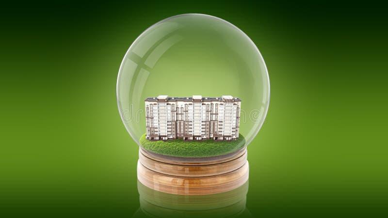 Boule transparente de sphère avec la maison moderne de partment à l'intérieur rendu 3d illustration stock