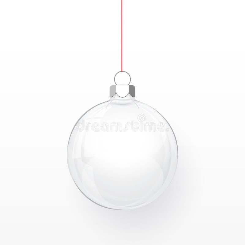 Boule transparente en verre de Noël Boule en verre de Noël sur le fond transparent Calibre de décoration de vacances Illustration illustration de vecteur