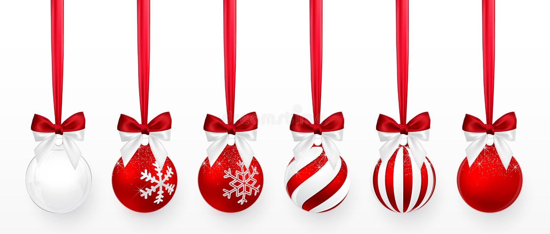 Boule transparente et rouge de Noël avec l'effet de neige et ensemble rouge d'arc Boule en verre de Noël sur le fond blanc Décora illustration libre de droits