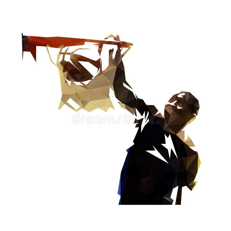 Boule trempante de joueur de basket polygonal, vec géométrique abstrait illustration libre de droits