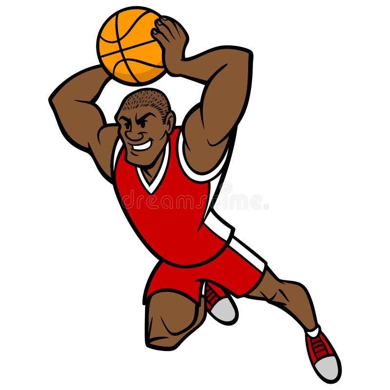 Boule trempante de joueur de basket illustration de vecteur