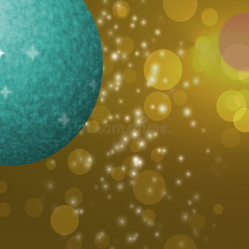 Boule verte de Noël sur le modèle abstrait, fond jaune illustration de vecteur