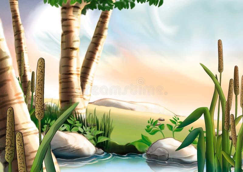 Bouleau et petit lac illustration de vecteur
