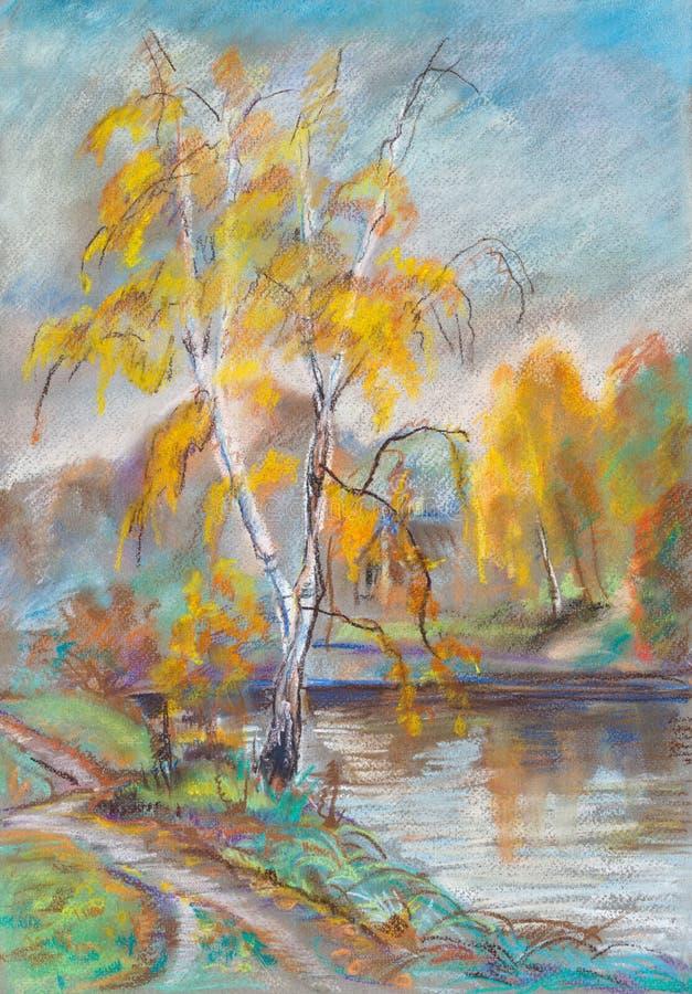 Bouleaux en automne illustration de vecteur