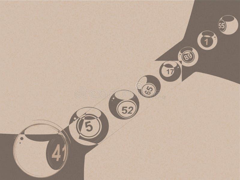 Boules abstraites de loterie de bingo-test sur le papier brun images stock