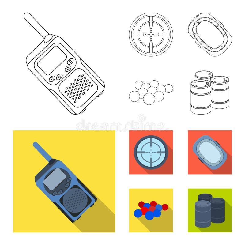 Boules avec la peinture et tout autre équipement Icône simple de Paintball dans le contour, Web plat d'illustration d'actions de  illustration de vecteur