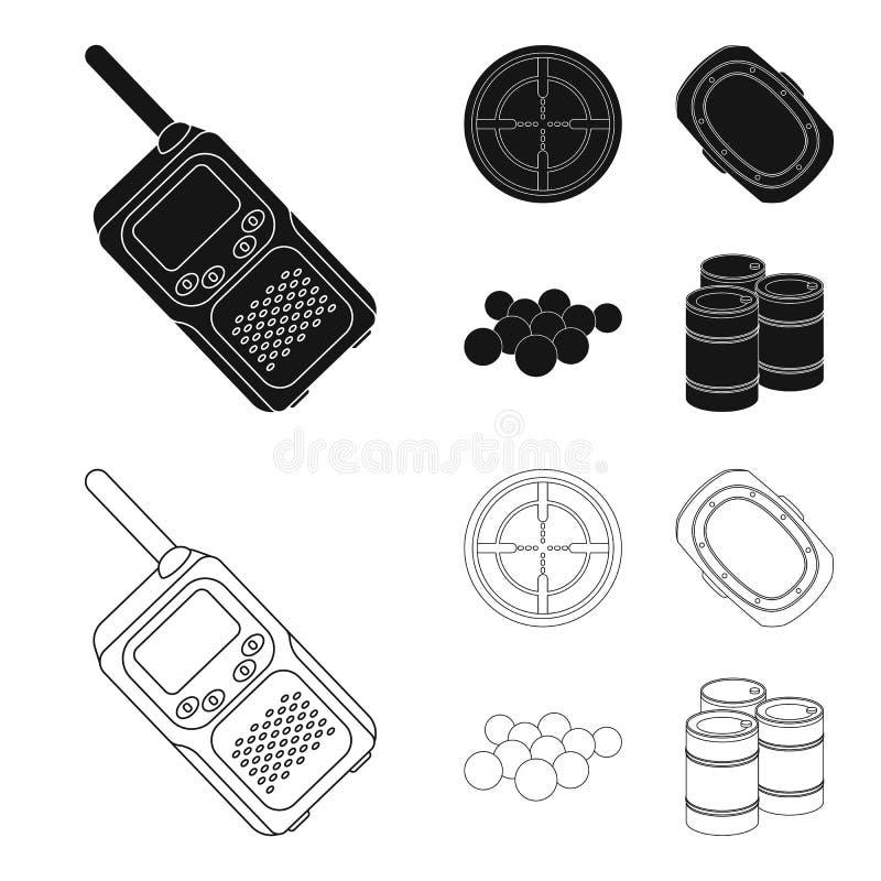 Boules avec la peinture et tout autre équipement Icône simple de Paintball dans le noir, Web d'illustration d'actions de symbole  illustration libre de droits