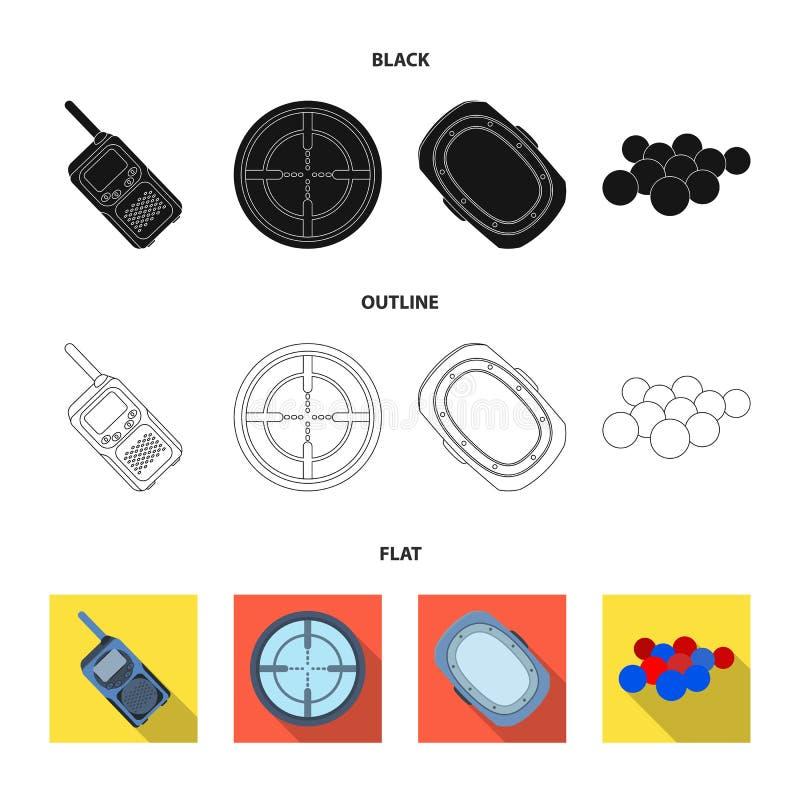 Boules avec la peinture et tout autre équipement Icône simple de Paintball dans noir, plat, illustration d'actions de symbole de  illustration stock