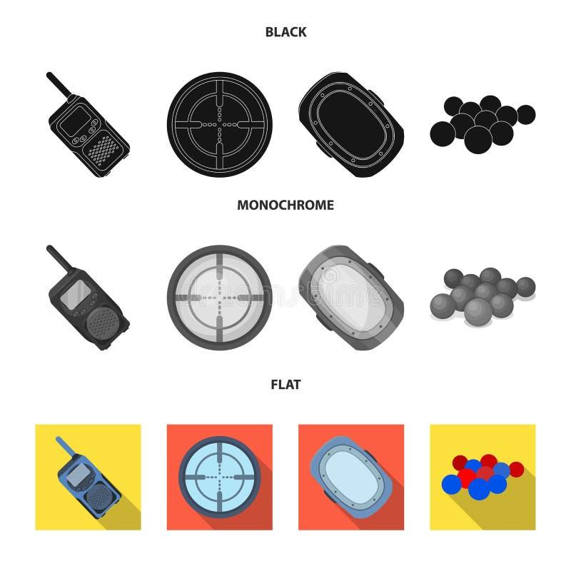 Boules avec la peinture et tout autre équipement Icône simple de Paintball en stock noir, plat, monochrome de symbole de vecteur  illustration stock