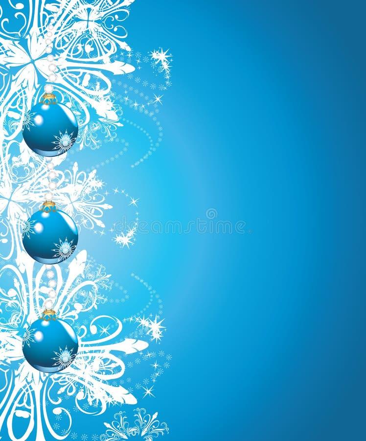 Boules bleues brillantes de Noël sur l'esprit de fond illustration de vecteur