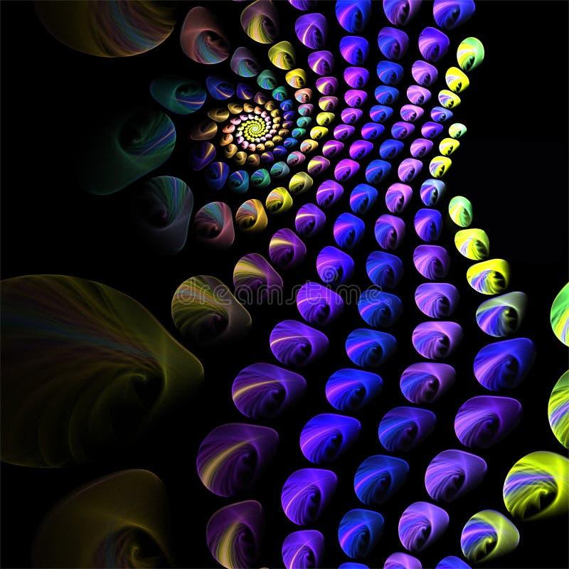 Boules bleues d'art abstrait de fractale petites avec la spirale jaune illustration stock