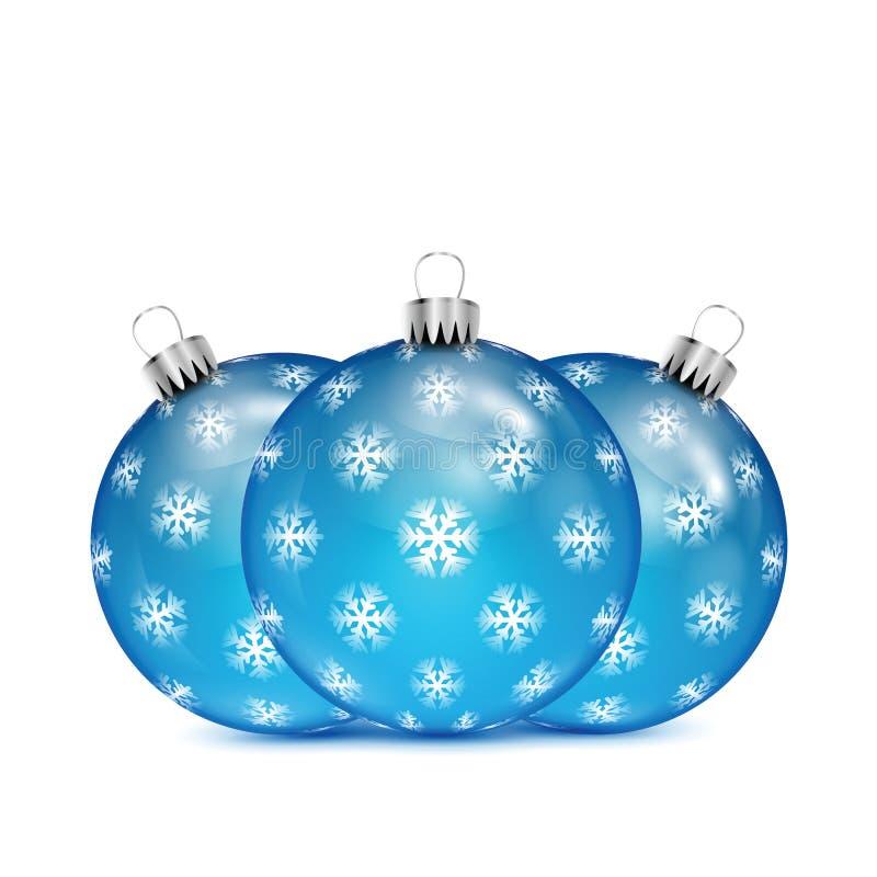 Boules bleues de Noël avec des flocons de neige illustration stock