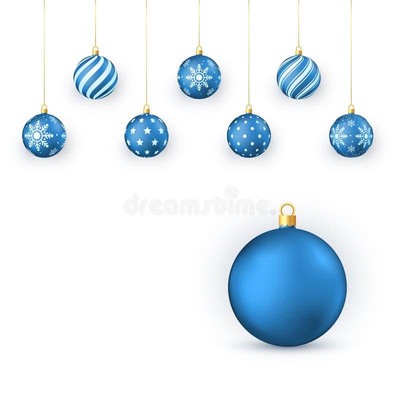 Boules bleues de Noël réglées Éléments décoratifs de vacances Les boules de Noël accrochent sur la ficelle d'or Illustration de v illustration libre de droits