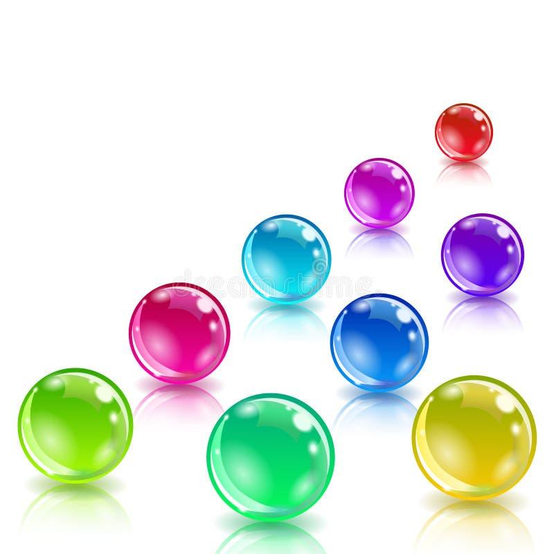 Boules colorées brillantes avec la réflexion illustration stock