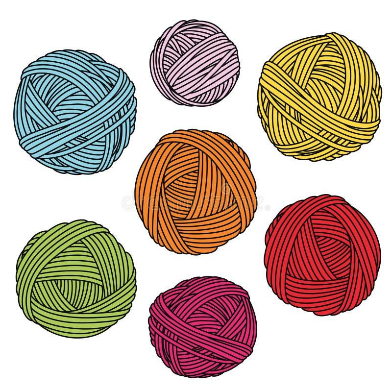 Boules colorées de fil Écheveaux de laine illustration libre de droits