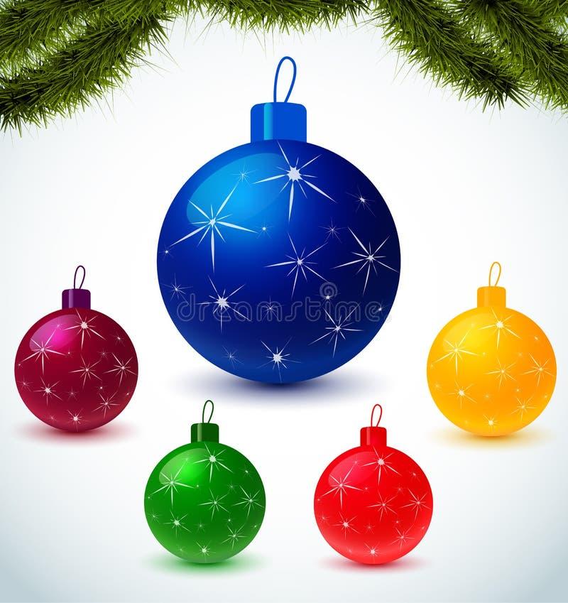 Boules colorées de Noël illustration libre de droits