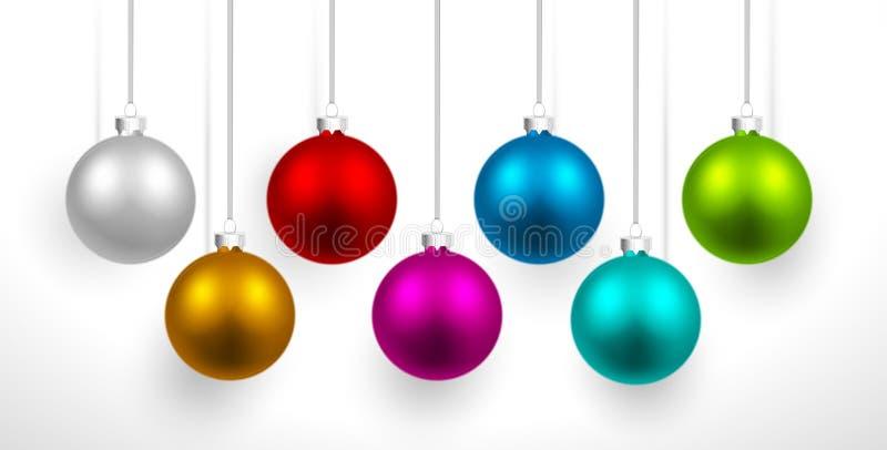 Boules colorées par Noël illustration de vecteur